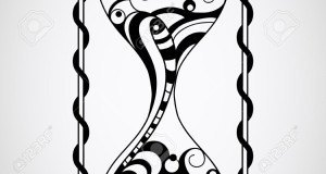 Vector Hourglass, Tattoo Style, Black
