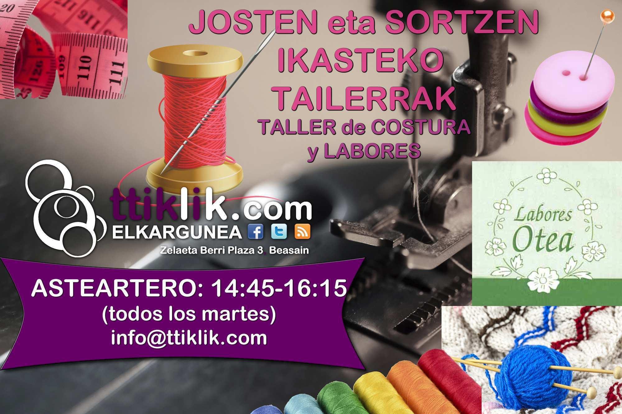 Photo of TALLER de COSTURA y LABORES – #TTiKLiK! Elkargunea