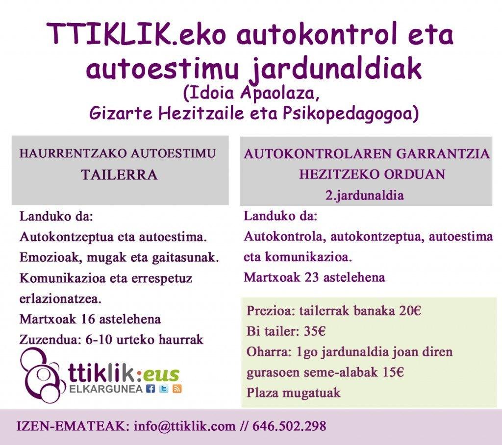 TTIKLIK.eko autokontrol eta autoestimu jardunaldiak
