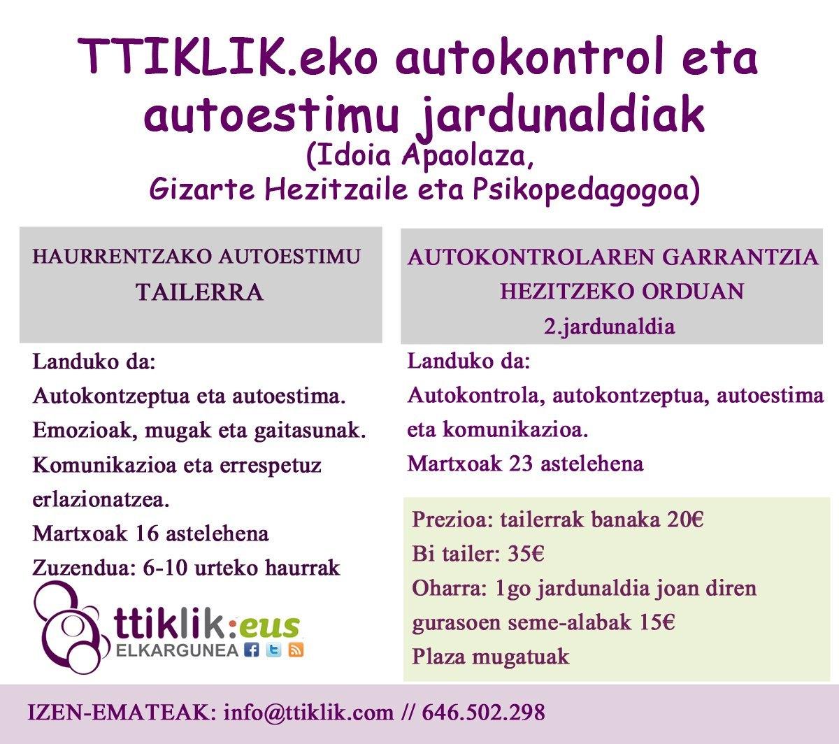 Photo of TTIKLIK.eko autokontrol eta autoestimu jardunaldiak