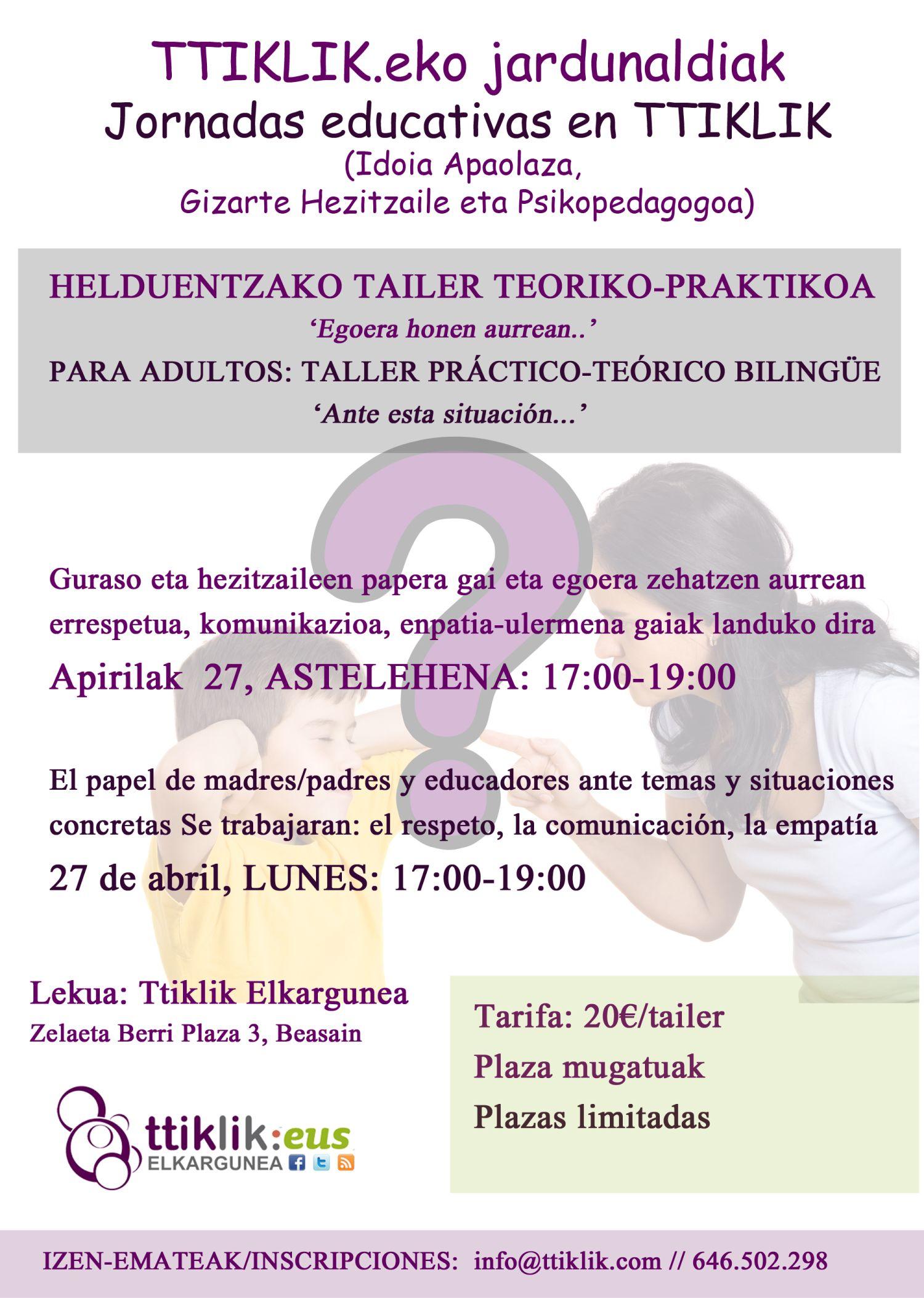 Photo of TALLER TEÓRICO-PRACTICO PARA MADRES-PADRES-EDUCADORES: ante esta situación…