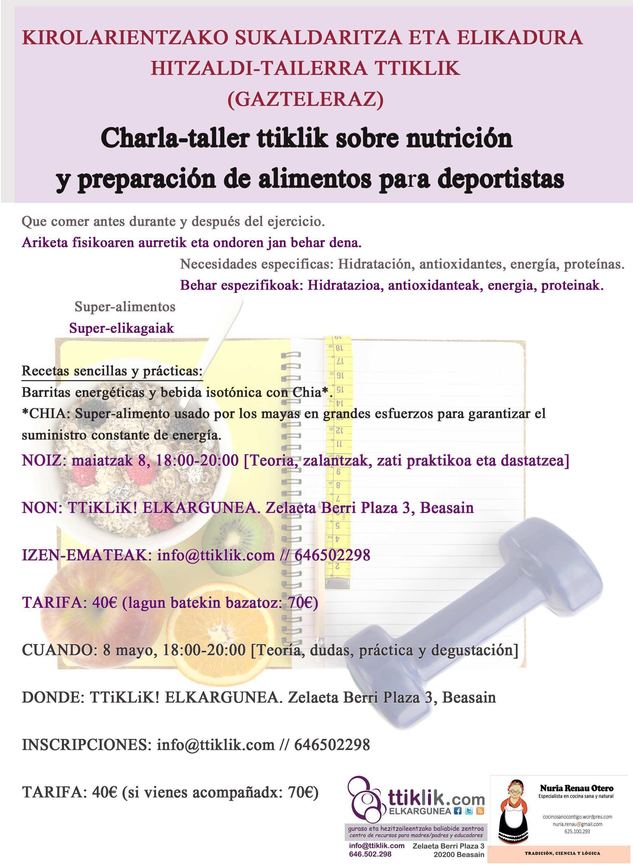 Photo of Charla-taller ttiklik sobre nutrición y preparación de alimentos para deportistas