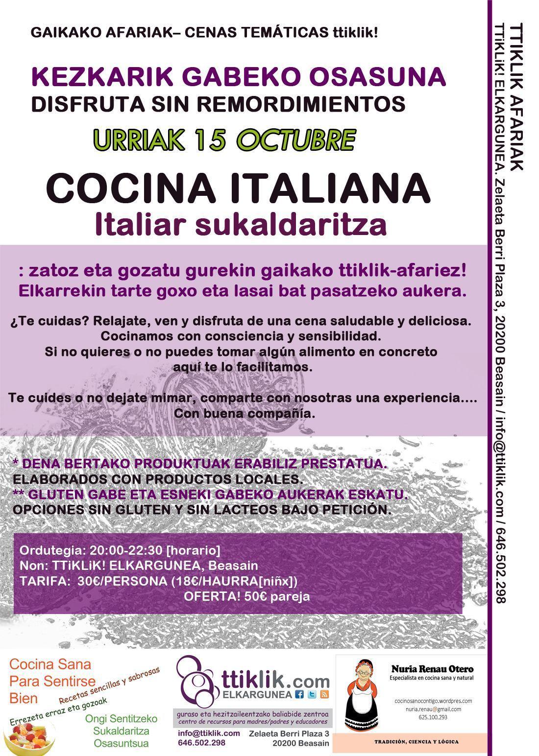 Photo of CENAS TTiKLiK!: 15 de octubre cocina italiana