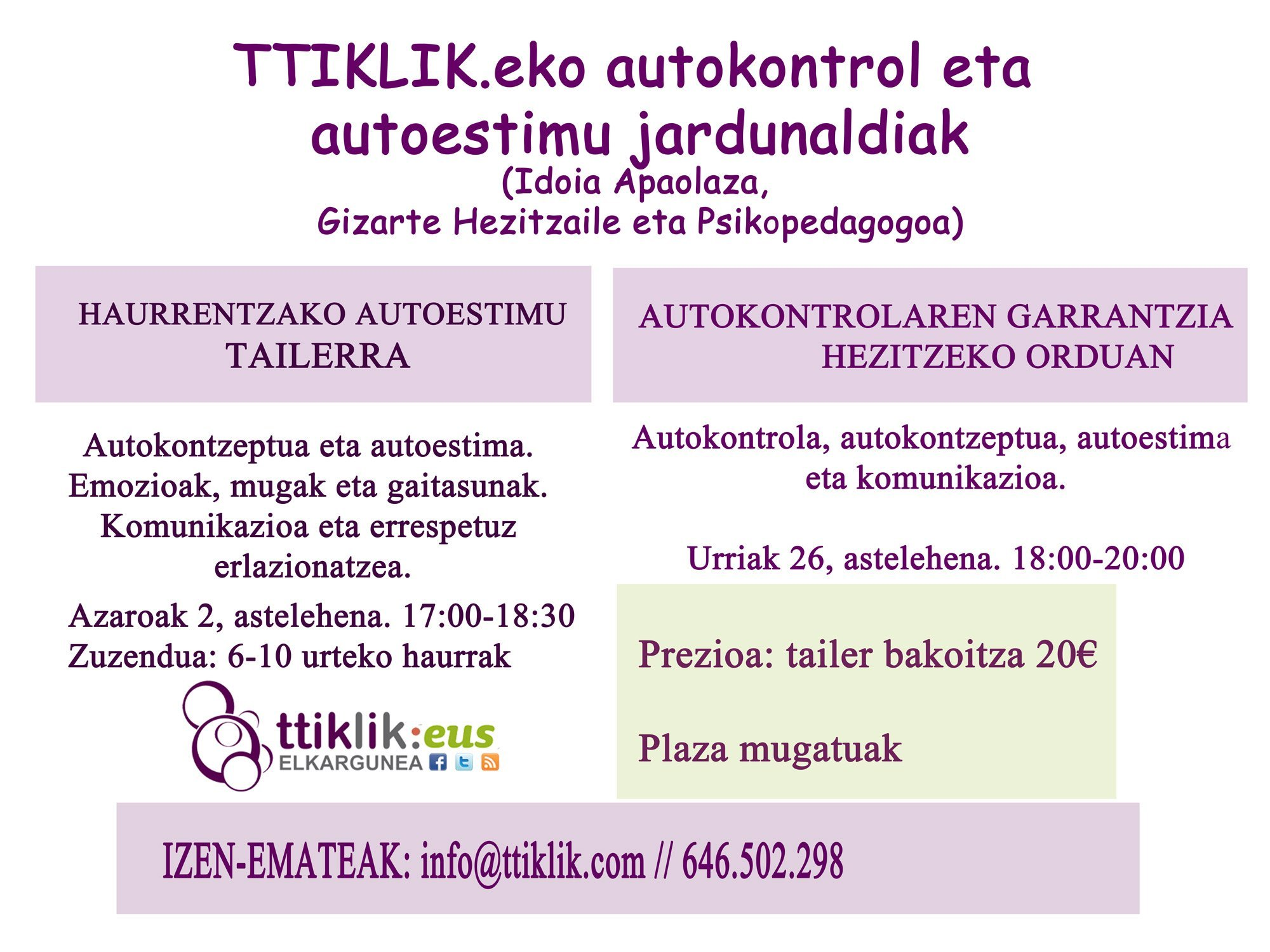 Photo of Taller de autoestima infantil (euskara)