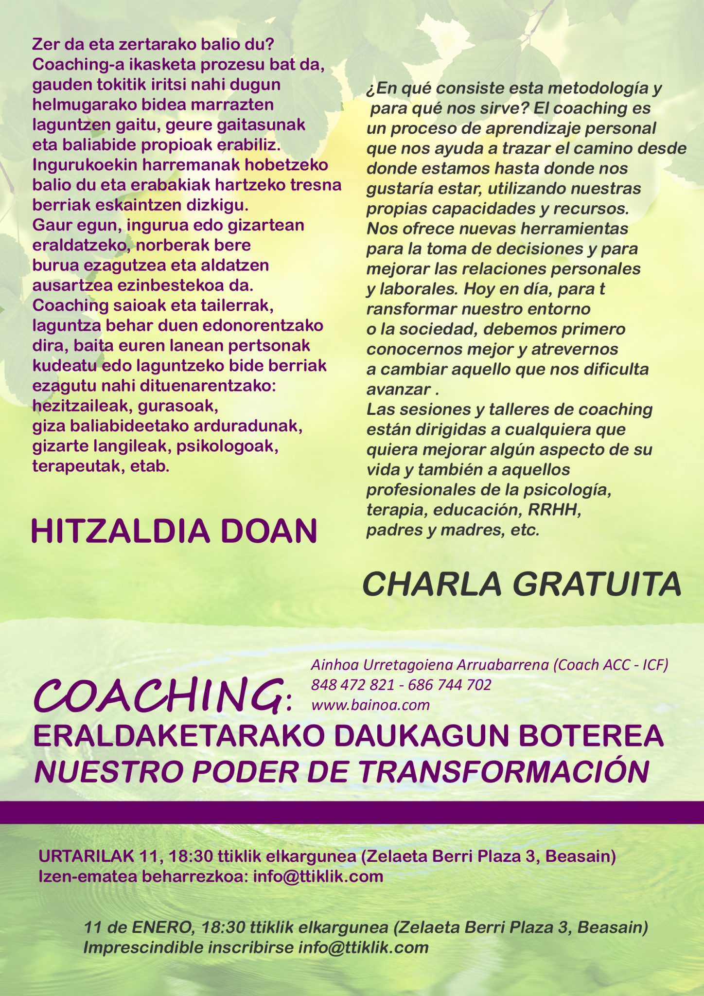 Photo of CHARLA GRATUITA – COACHING: NUESTRO PODER DE TRANSFORMACIÓN