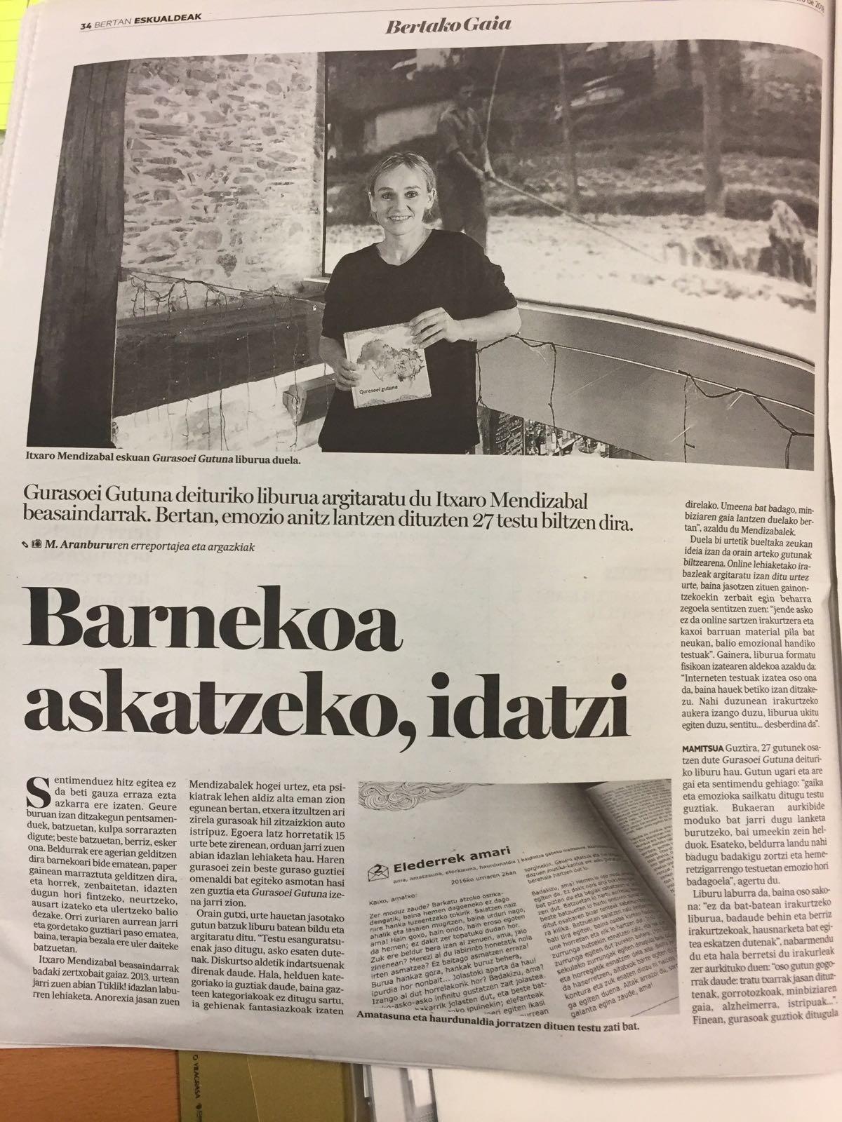Photo of [Noticias de Gipuzkoa] Barnekoa askatzeko, idatzi