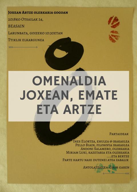 Photo of O M E N A L D I A – JOXEAN, EMATE ETA ARTZE